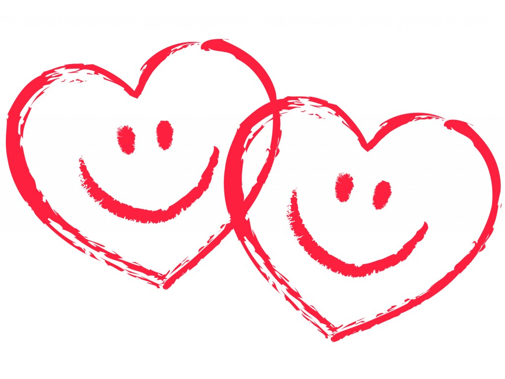 2 rote, ineinander verschlungene Smiley-Herzen, Vektor